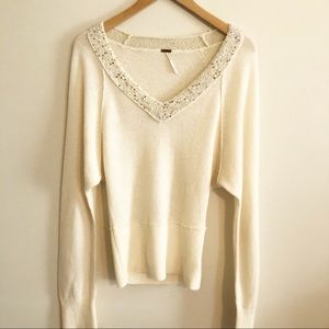 Free People | Sequin V-neck Dolman Sweater- Size S